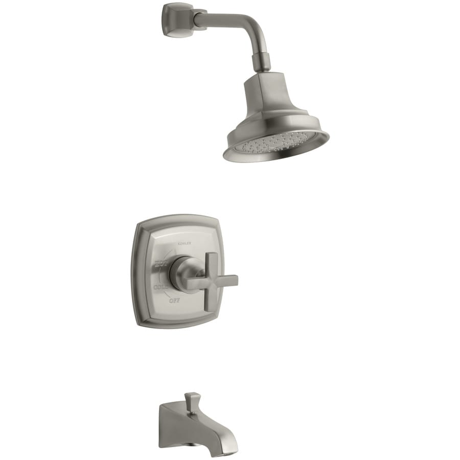 KOHLER Margaux Vibrant Brushed Nickel 1-Handle Bathtub and Shower Faucet Trim Kit with Single Function Showerhead