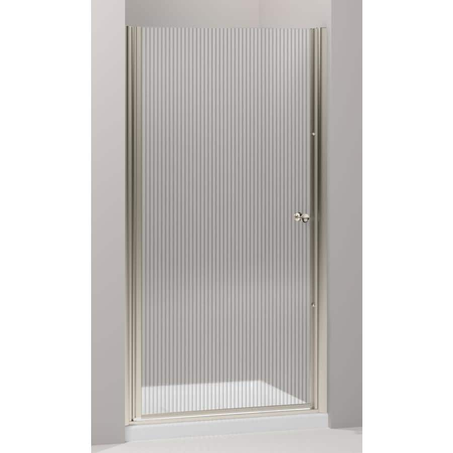 KOHLER Pinstripe, Purist and Finial Bath and Shower Doors 35-in to 36.5-in Frameless Pivot Shower Door