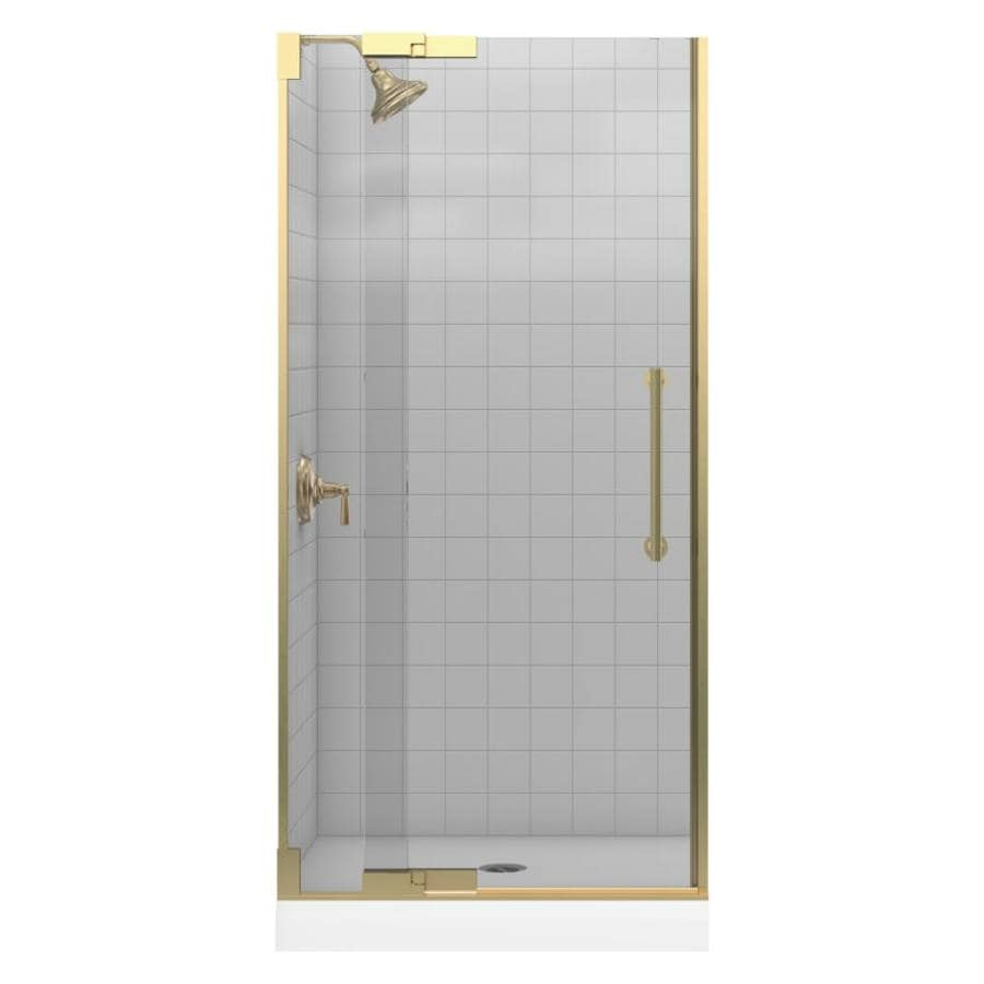 KOHLER Purist 33.25-in to 35.75-in Brushed Bronze Pivot Shower Door