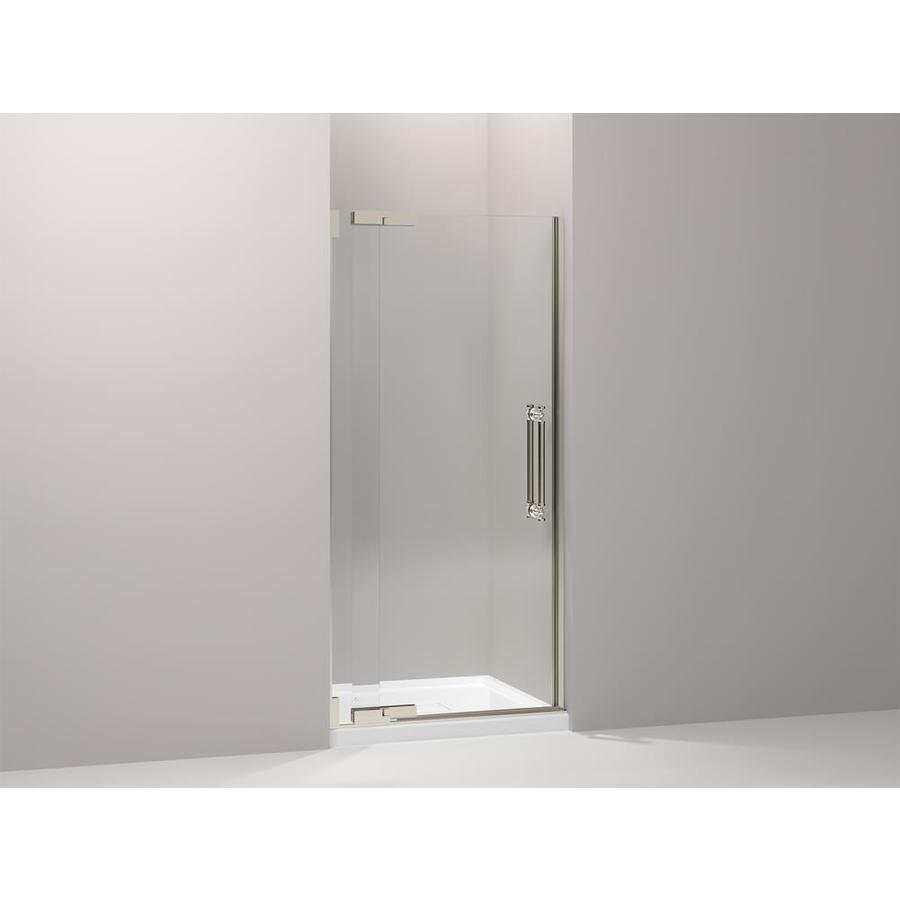 KOHLER Pinstripe 33.25-in to 38.75-in Frameless Pivot Shower Door