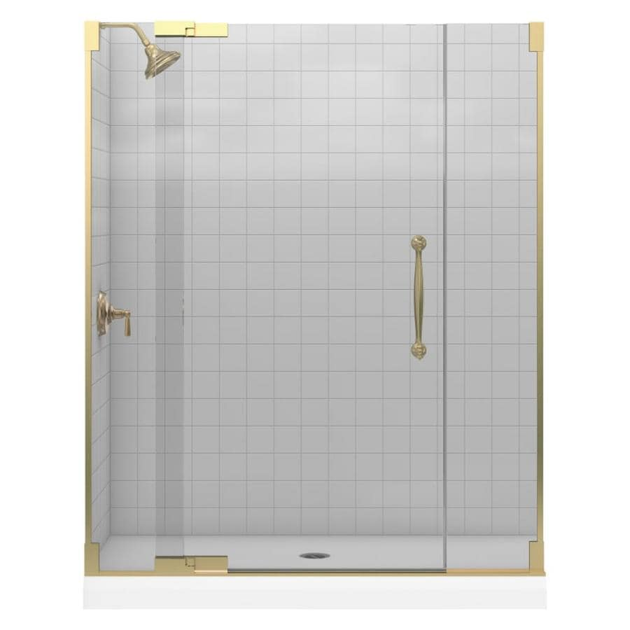 KOHLER Finial 43.125-in to 59.75-in Frameless Anodized Brushed Bronze Pivot Shower Door