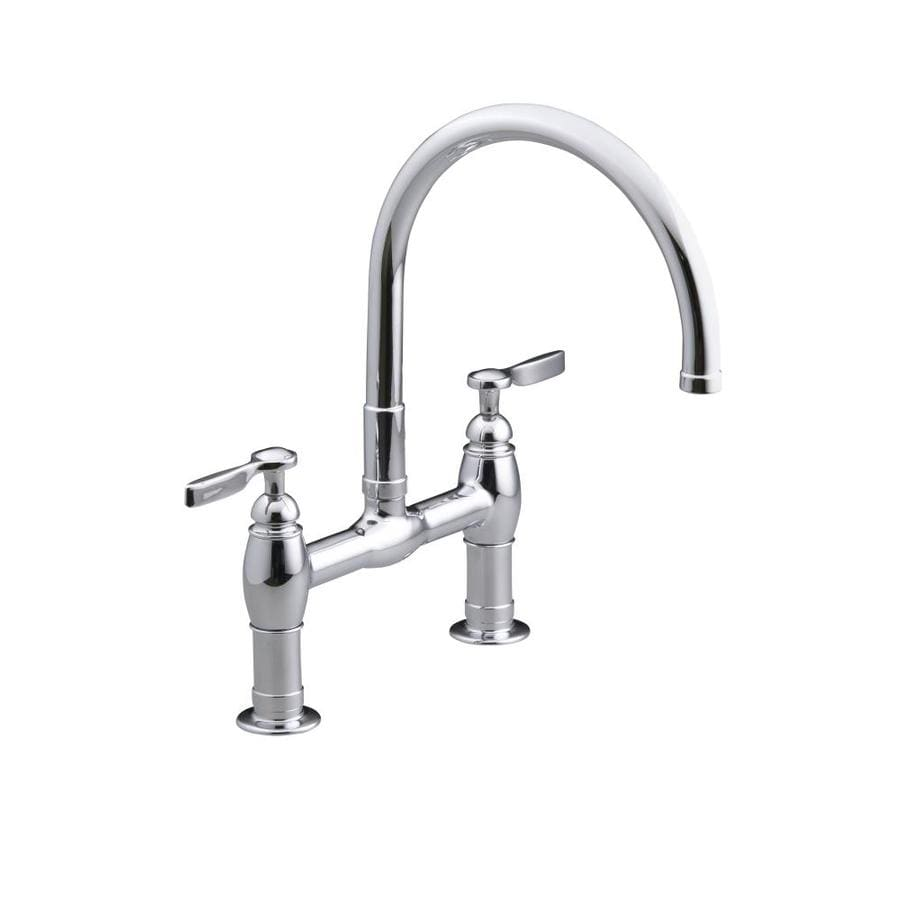 shop kohler parq polished chrome 2 handle high arc kitchen faucet at
