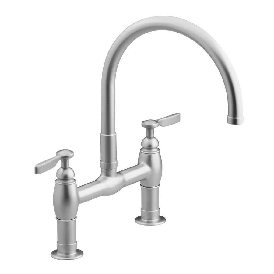 KOHLER Parq Vibrant Stainless 2-Handle High-Arc Kitchen Faucet