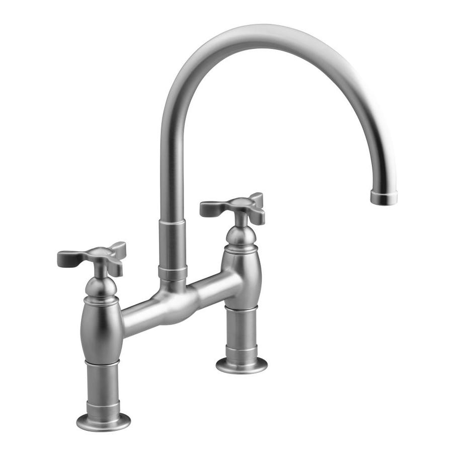 KOHLER Parq Vibrant Stainless 2-Handle High-Arc Kitchen Faucet