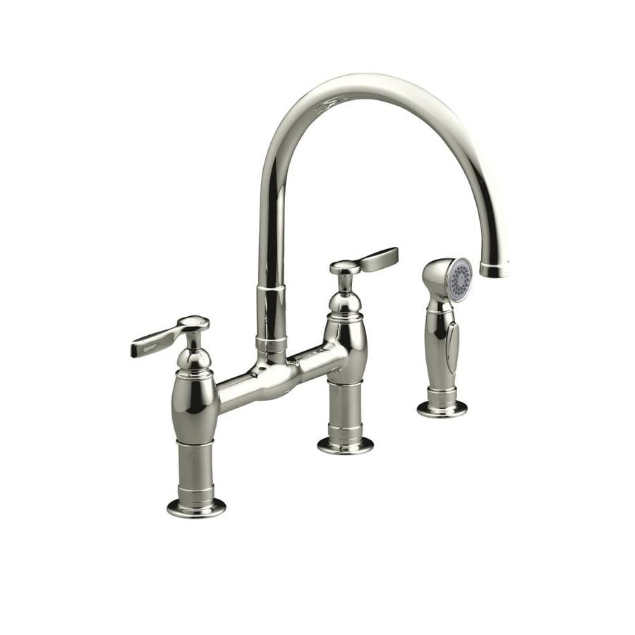KOHLER Parq Vibrant Polished Nickel 2-Handle High-Arc Kitchen Faucet with Side Spray