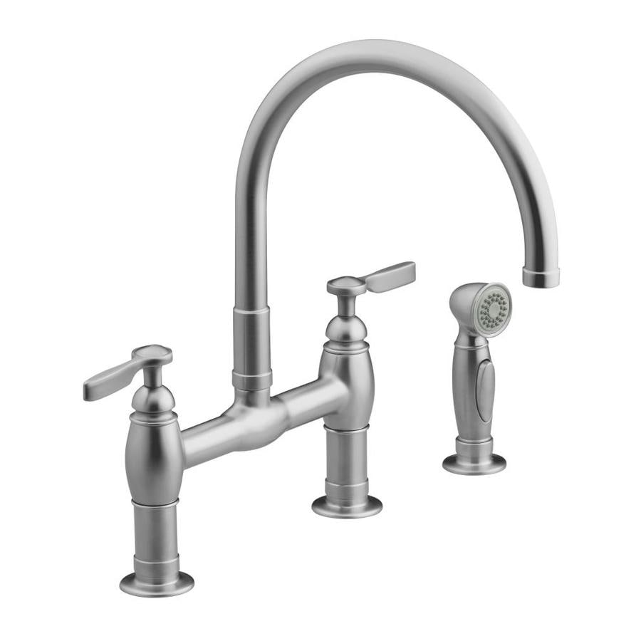 KOHLER Parq Vibrant Stainless 2-Handle High-Arc Kitchen Faucet with Side Spray