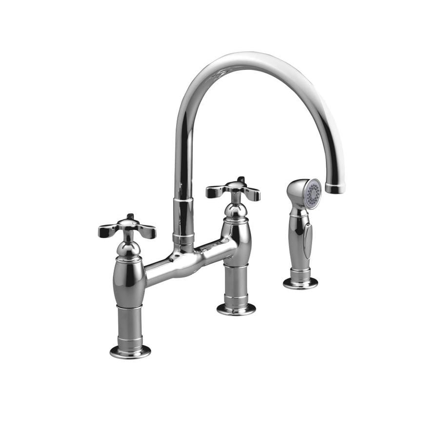 KOHLER Parq Polished Chrome 2-Handle High-Arc Kitchen Faucet with Side Spray