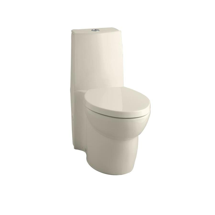 KOHLER Saile Almond WaterSense Labeled Dual Elongated Standard Height 1-piece Toilet 12-in Rough-In Size