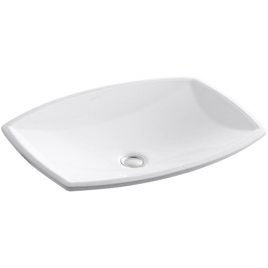 KOHLER Kelston White Undermount Rectangular Bathroom Sink with Overflow