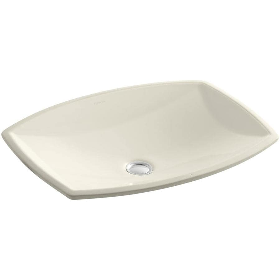 shop kohler kelston almond undermount rectangular bathroom