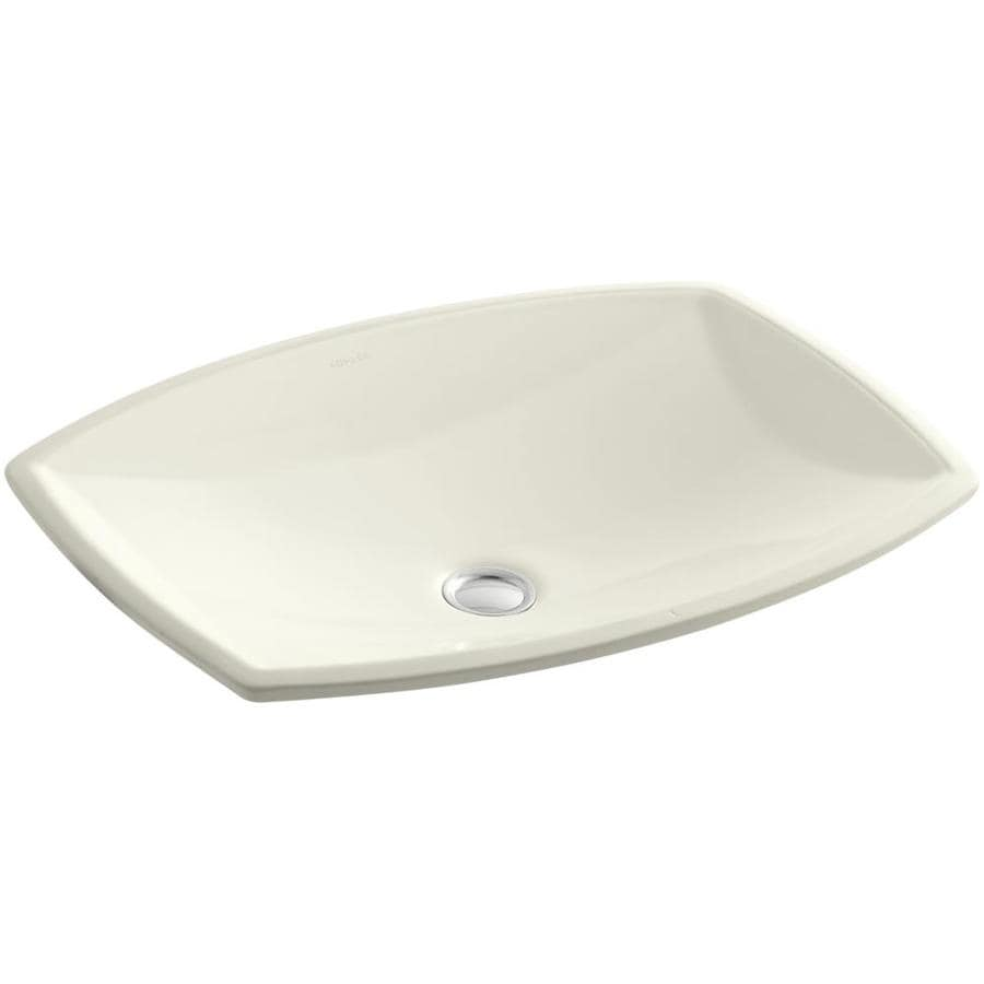 Shop kohler kelston biscuit undermount rectangular for Bathroom undermount sinks