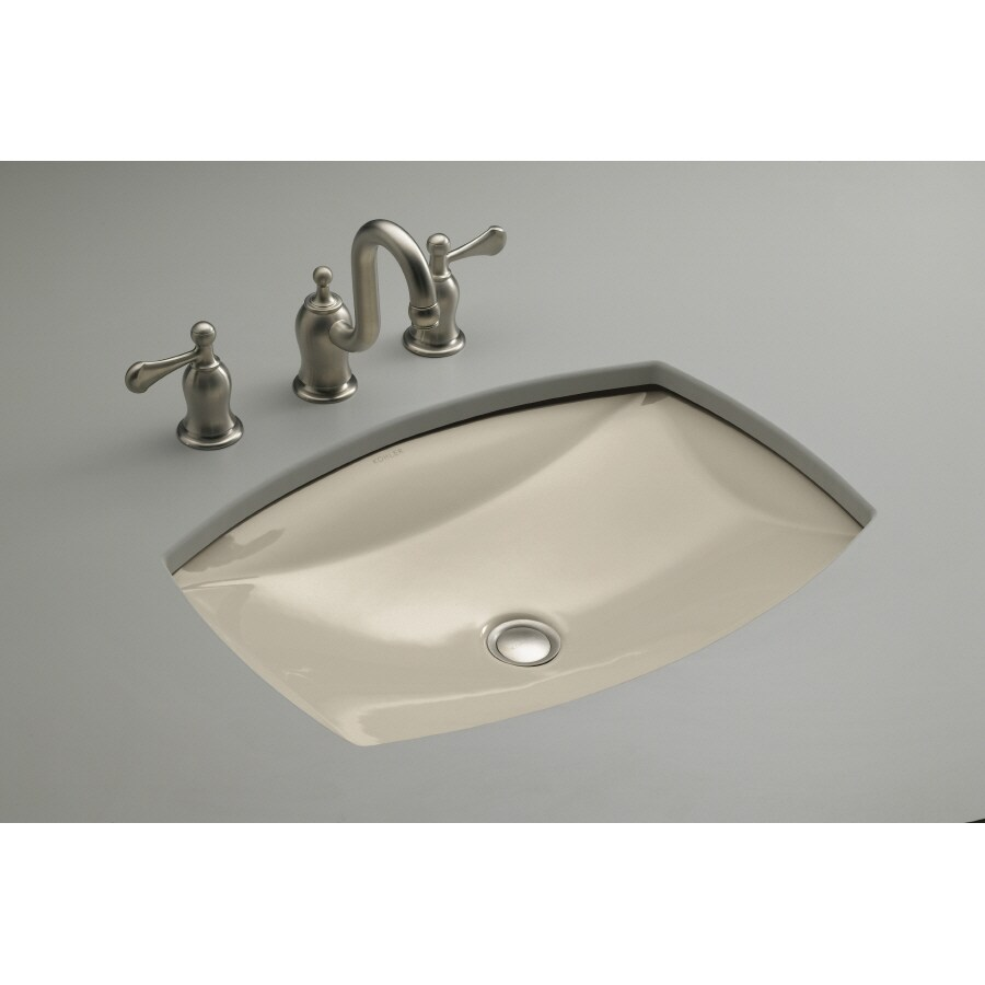 KOHLER Kelston Sandbar Undermount Rectangular Bathroom Sink with Overflow