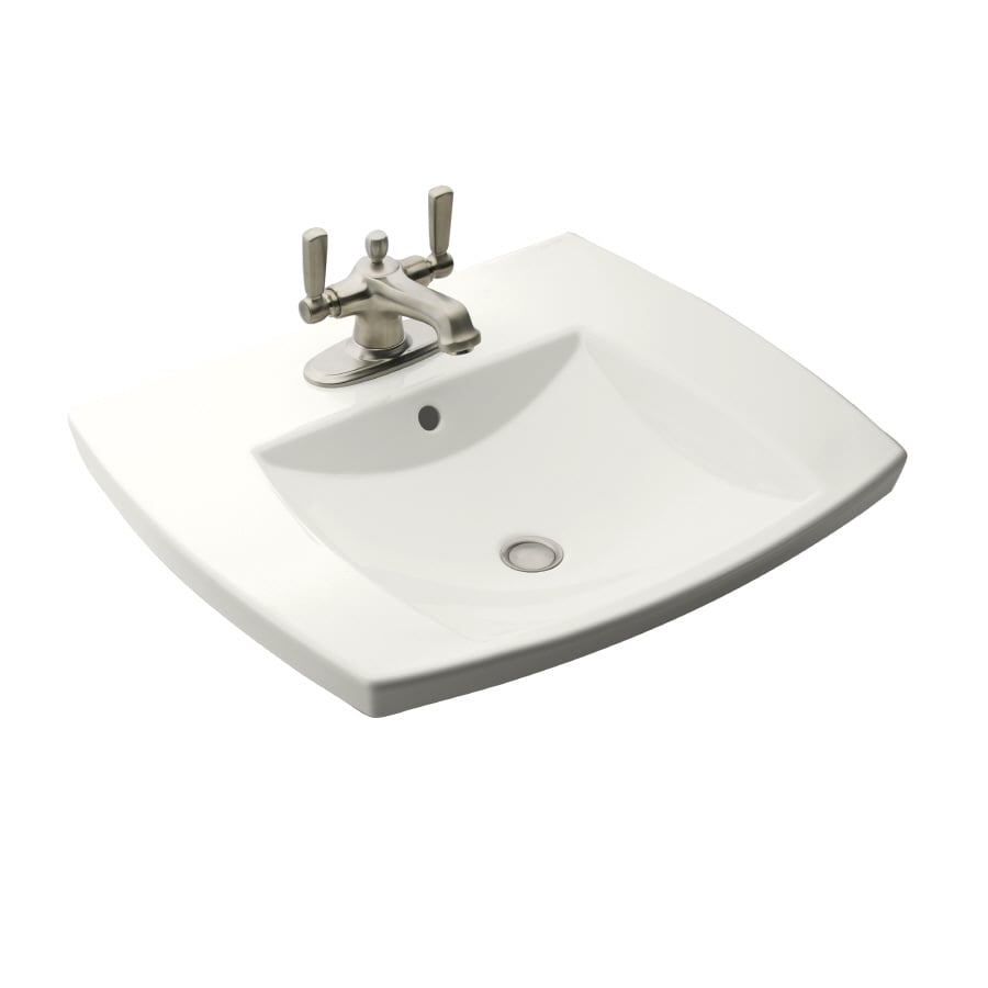 KOHLER Kelston White Drop-in Rectangular Bathroom Sink with Overflow