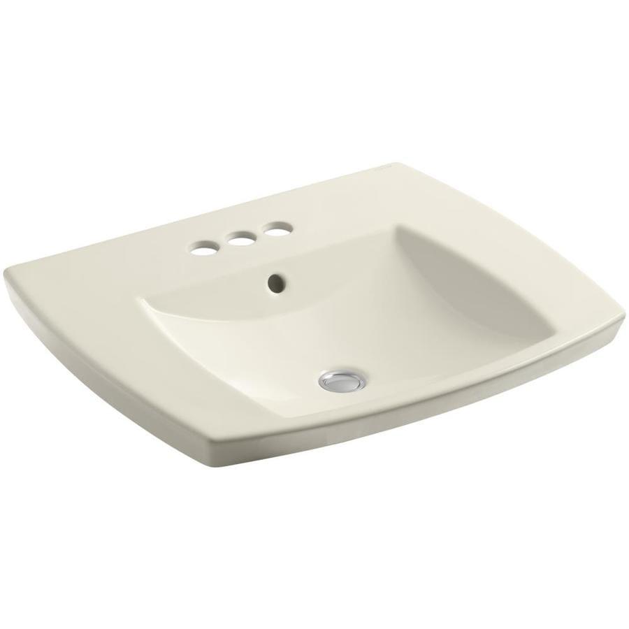 Shop Kohler Kelston Almond Rectangular Drop In Bathroom Sink Overflow Drain At
