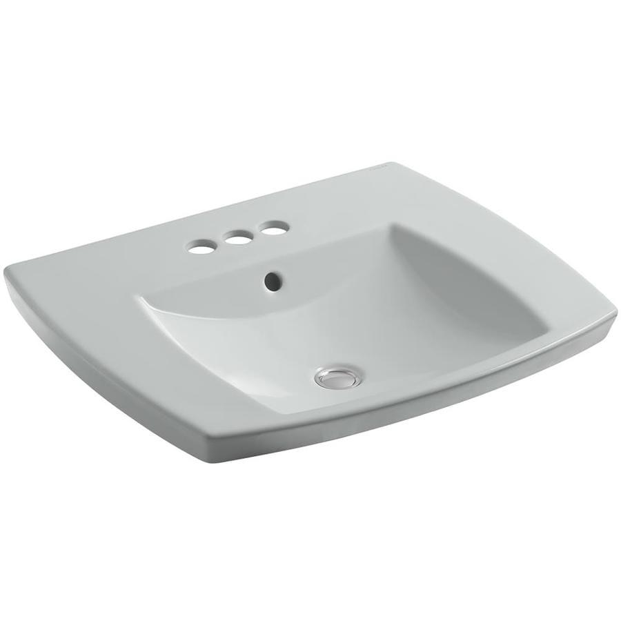 KOHLER Kelston Ice Grey Fire Clay Drop-in Rectangular Bathroom Sink with Overflow