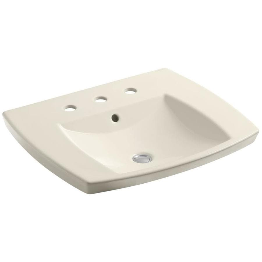 KOHLER Kelston Almond Drop-in Rectangular Bathroom Sink with Overflow