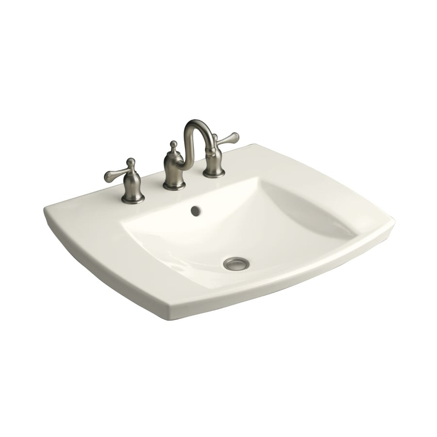 Shop Kohler Kelston Biscuit Drop In Rectangular Bathroom Sink With Overflow At