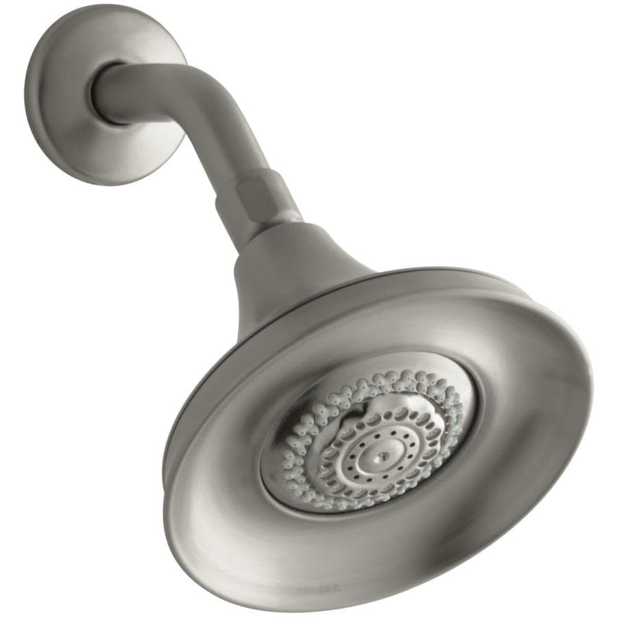 KOHLER Forte 5.9375-in 1.75-GPM (6.6-LPM) Vibrant Brushed Nickel 3-Spray WaterSense Rain Showerhead