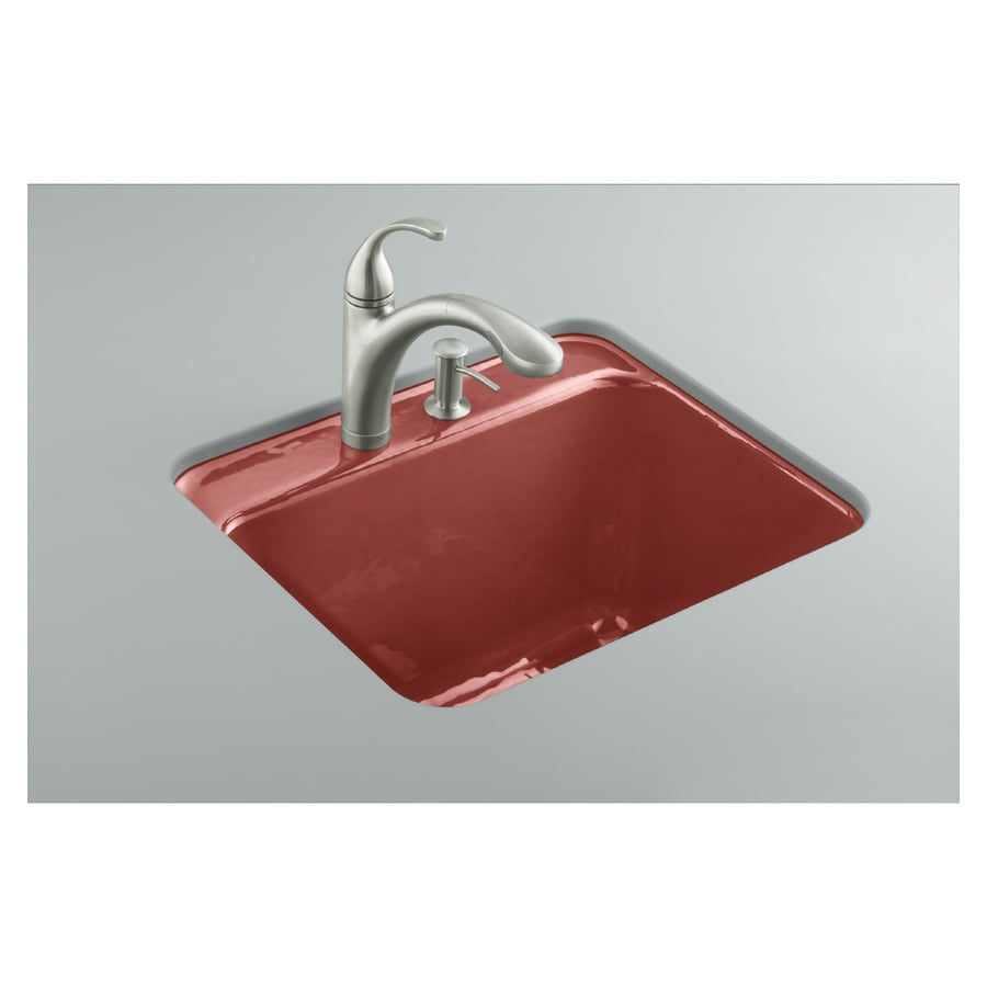 Kohler Roussillon Red Undermount Cast Iron Laundry Sink In The Utility Sinks Department At Lowes Com