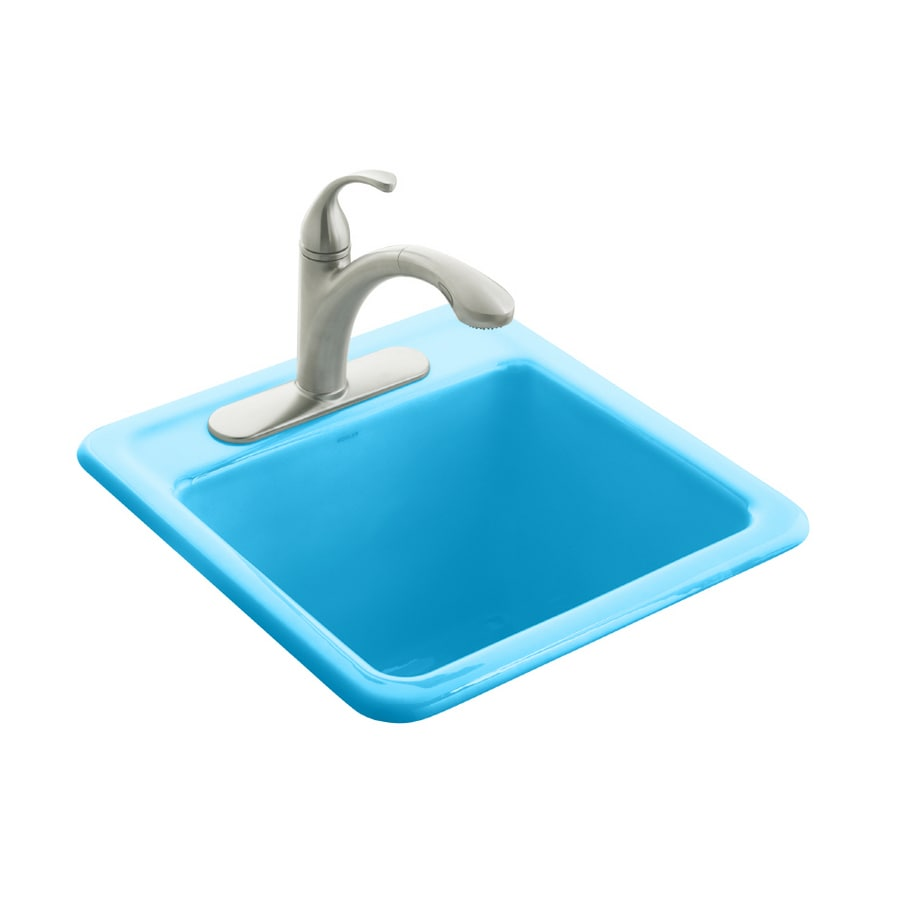 KOHLER Park Falls Self Rimming Sink With Three Hole Faucet Drilling Vapour  Blue