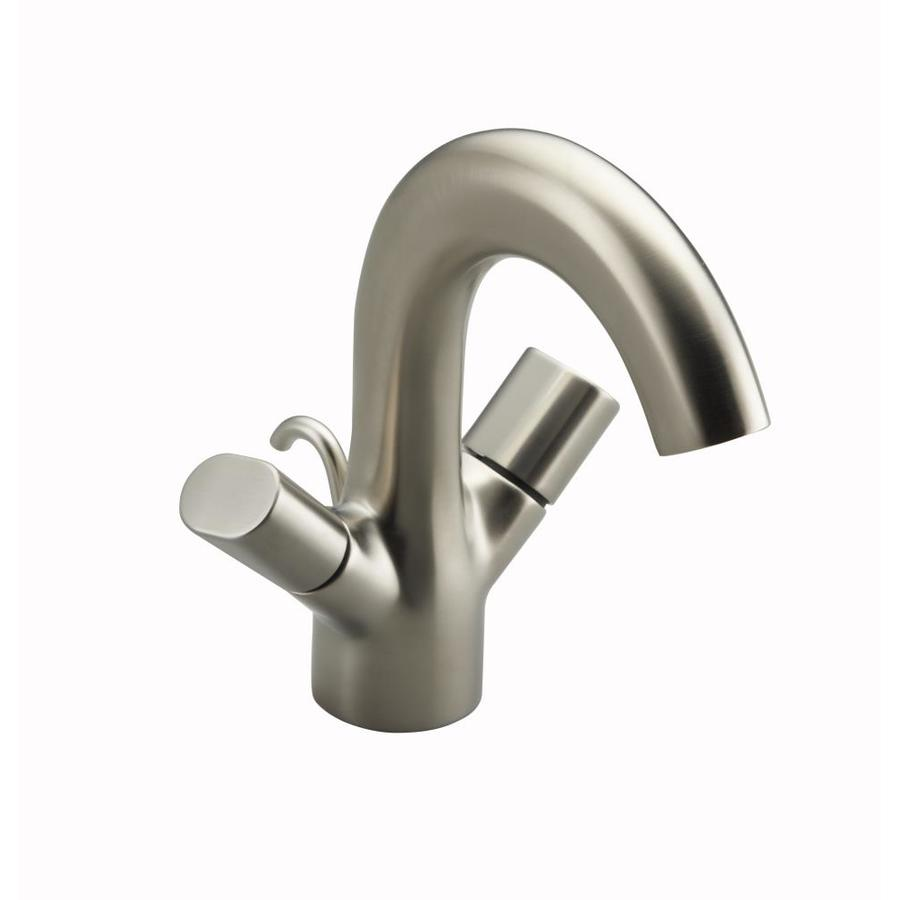 KOHLER Oblo Vibrant Brushed Nickel 2-Handle Single Hole WaterSense Bathroom Faucet (Drain Included)