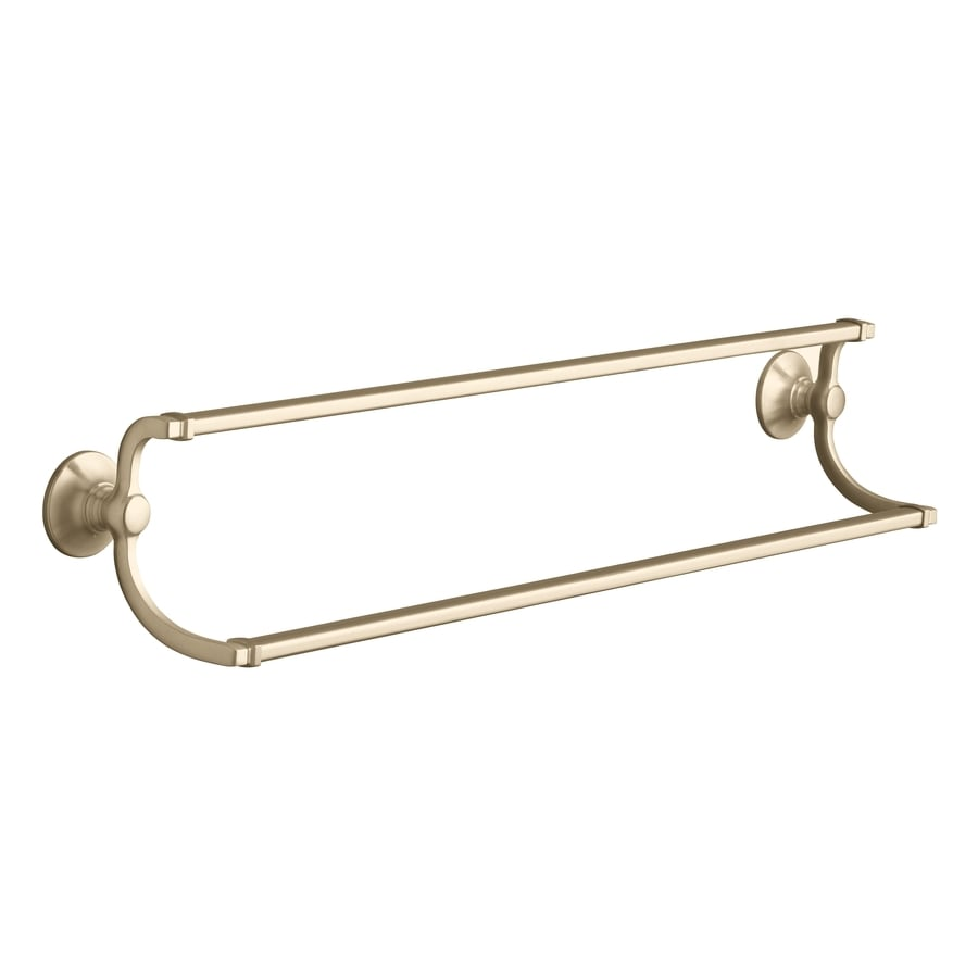 KOHLER Bancroft Vibrant Brushed Bronze Double Towel Bar (Common: 24-in; Actual: 26.25-in)