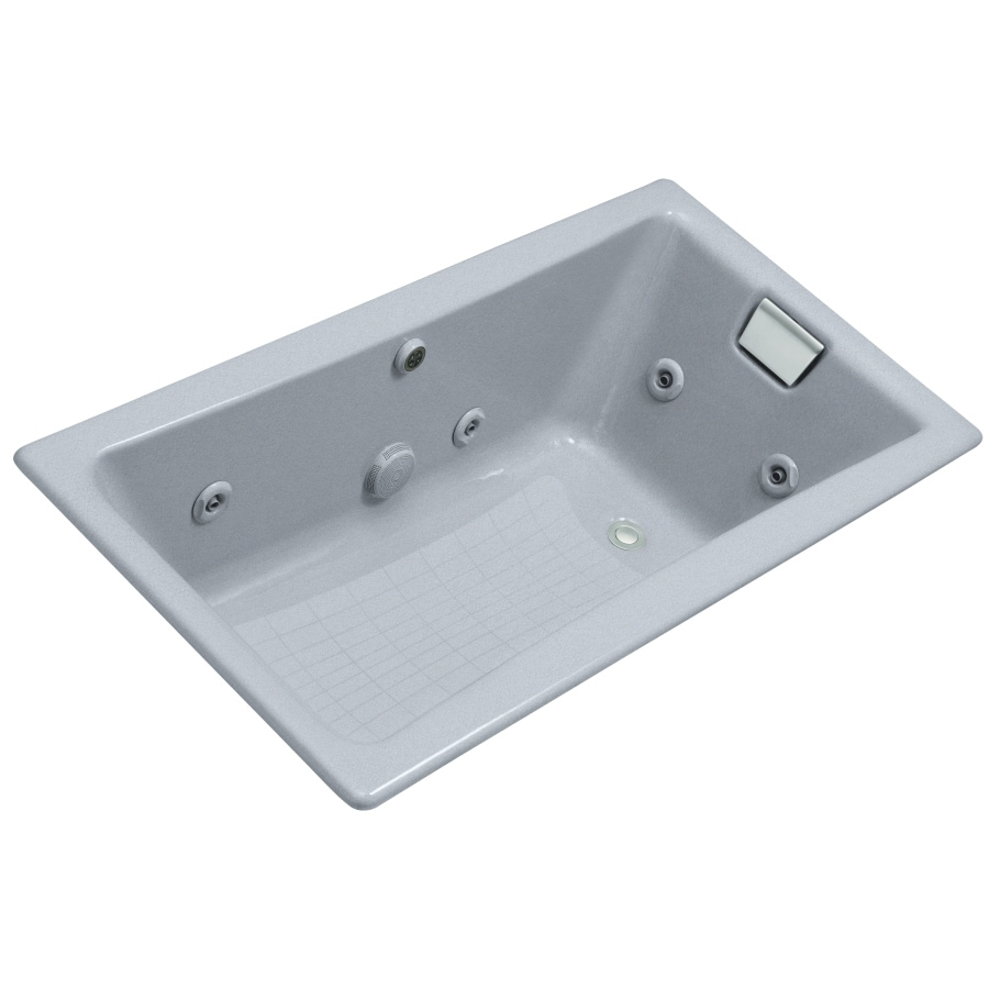 Shop KOHLER Frost Cast Iron Drop-In Jetted Whirlpool Tub at Lowes.com