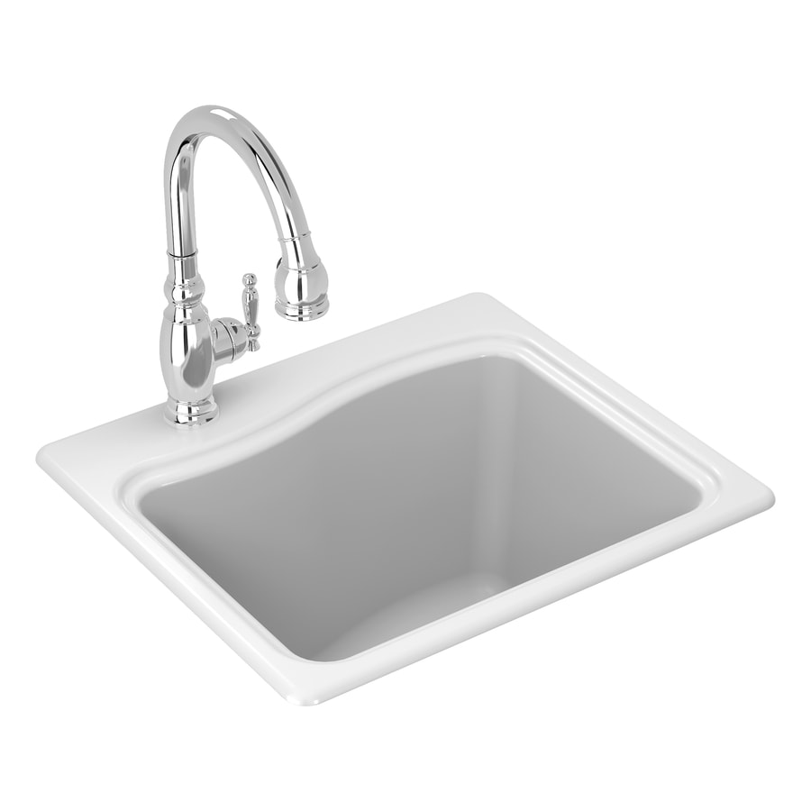KOHLER 14.7500-in x 21.5000-in Single-Basin White Self-Rimming Cast Iron Laundry Sink