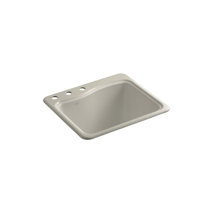 KOHLER 22-in x 25-in 1-Basin Sandbar Self-Rimming Cast Iron Utility Tub Utility Sink