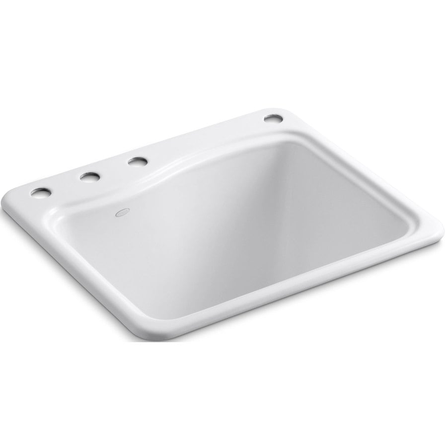 KOHLER 14.75-in x 21.5-in 1-Basin White Self-Rimming Cast Iron Laundry Sink Utility Sink