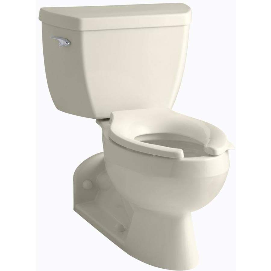 KOHLER Barrington 1-GPF Almond WaterSense Elongated Standard Height 2-Piece Toilet