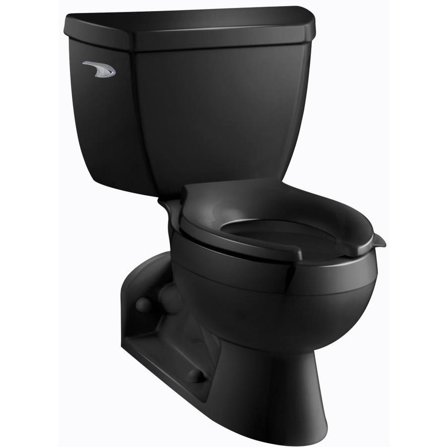 KOHLER Barrington 1.1-GPF (4.16-LPF) Black Black WaterSense Elongated Standard Height 2-Piece Toilet