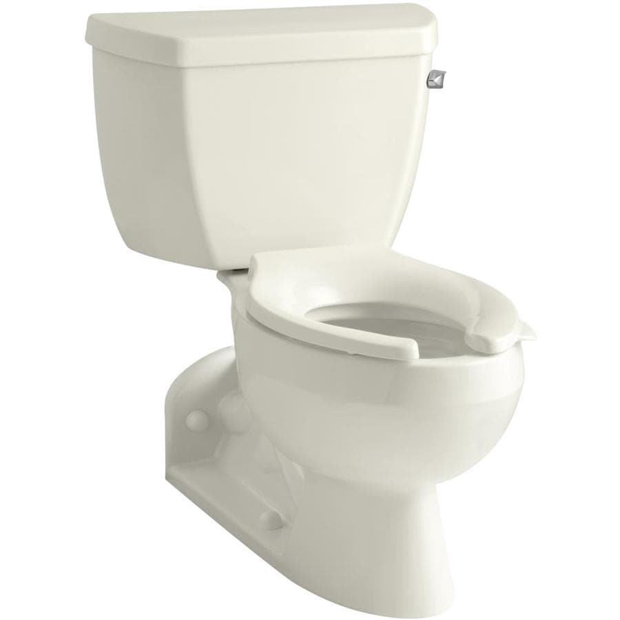 KOHLER Barrington Biscuit WaterSense Labeled  Elongated Standard Height 2-piece Toilet 4-in Rough-In Size