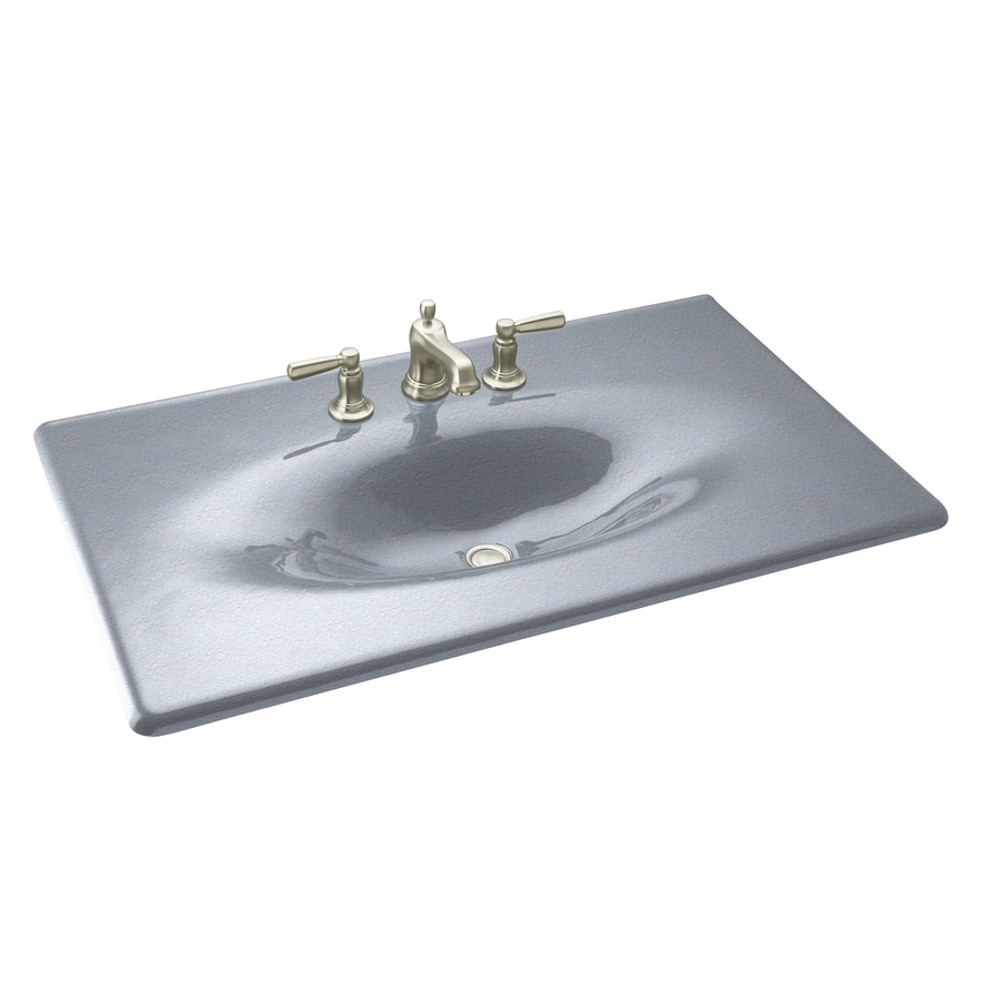 Shop KOHLER Iron/Impressions Frost Cast Iron Drop-In Rectangular ...