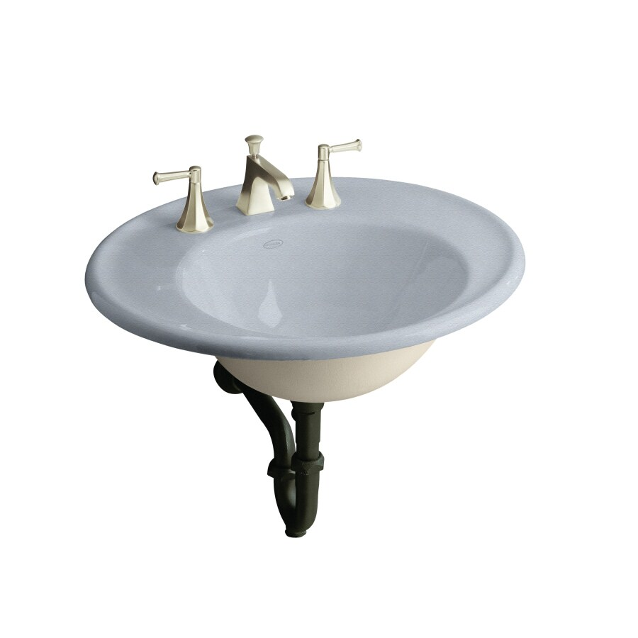 Shop KOHLER Iron Works Frost Cast Iron Wall-Mount Oval Bathroom Sink ...