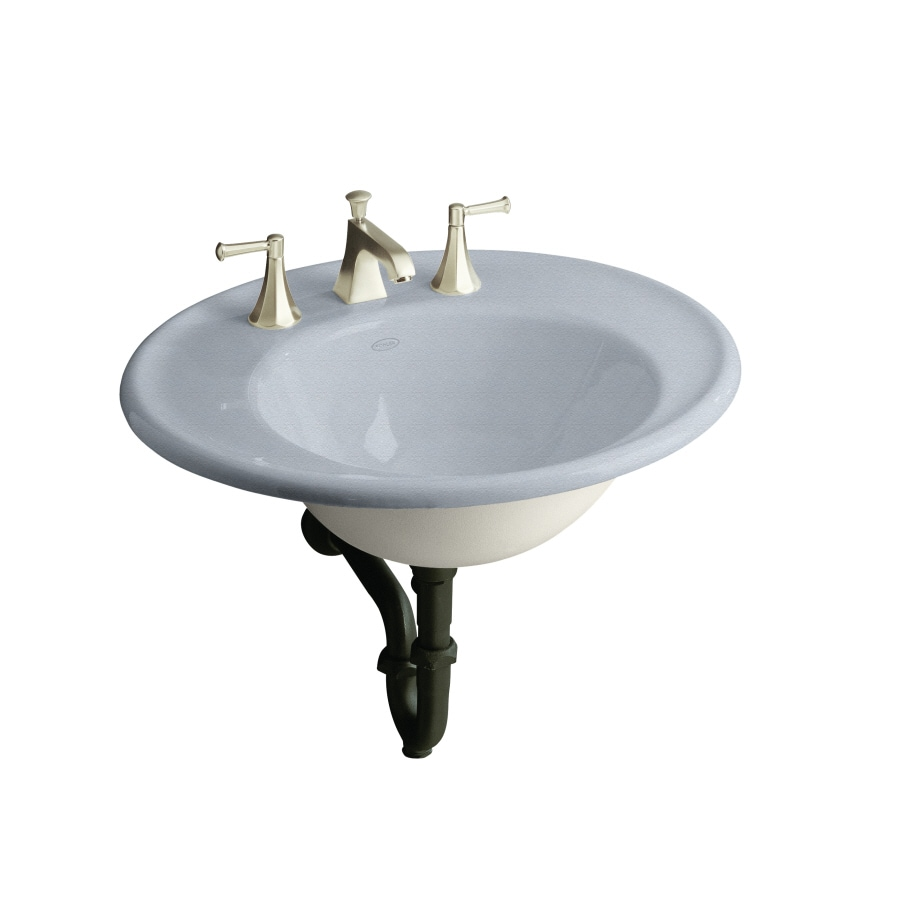 KOHLER Iron Works Frost Cast Iron Wall-Mount Oval Bathroom Sink