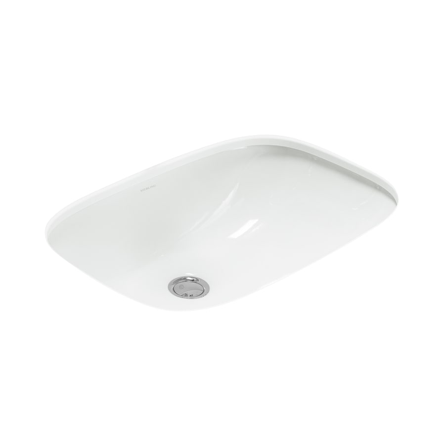 Shop sterling stinson white undermount rectangular bathroom sink with overflow at for White rectangular undermount bathroom sink