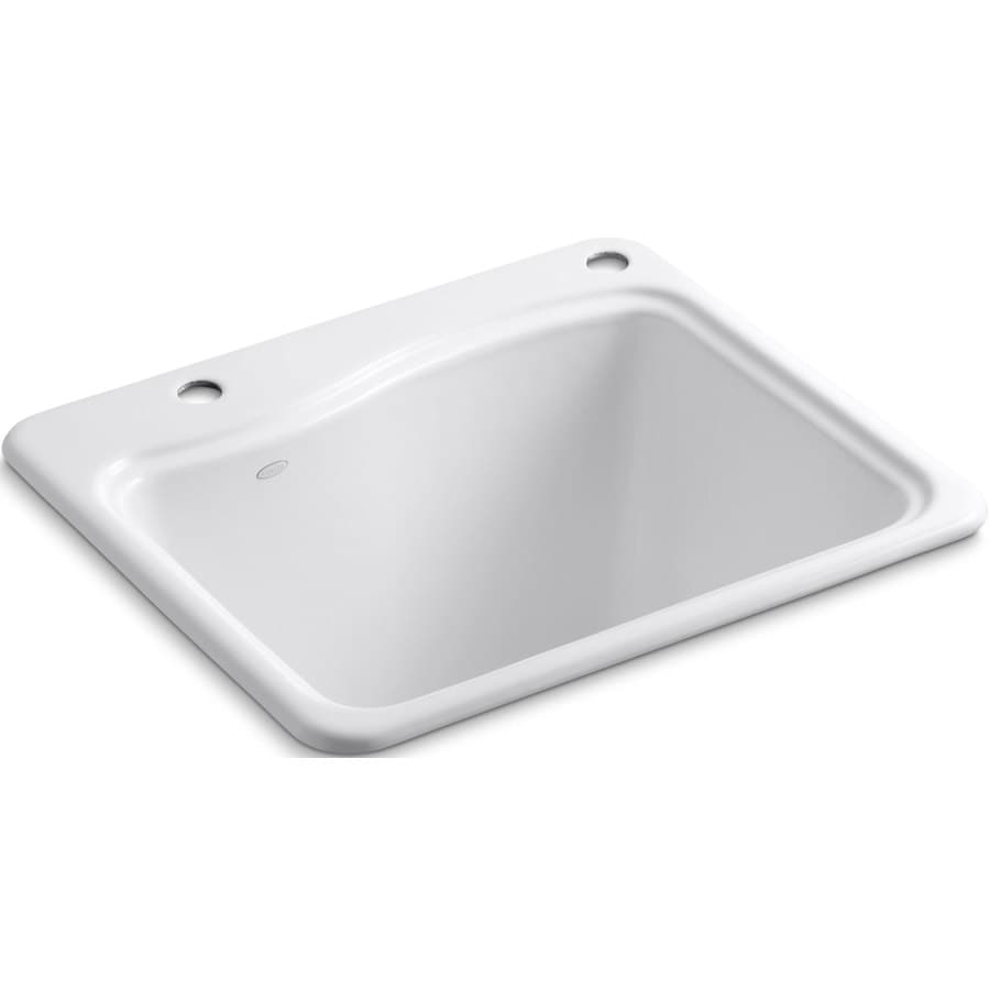 KOHLER 14.75-in x 21.5-in White Self-Rimming Cast Iron Laundry Utility Sink