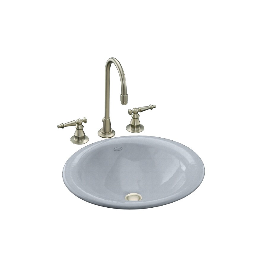 Shop KOHLER Vessels Iron Bell Frost Cast Iron Above Counter Oval ...