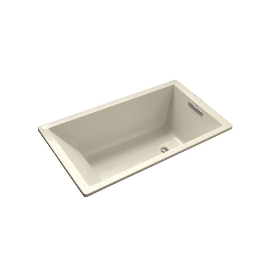KOHLER Underscore 60-in Almond Acrylic Drop-In Bathtub with Reversible Drain