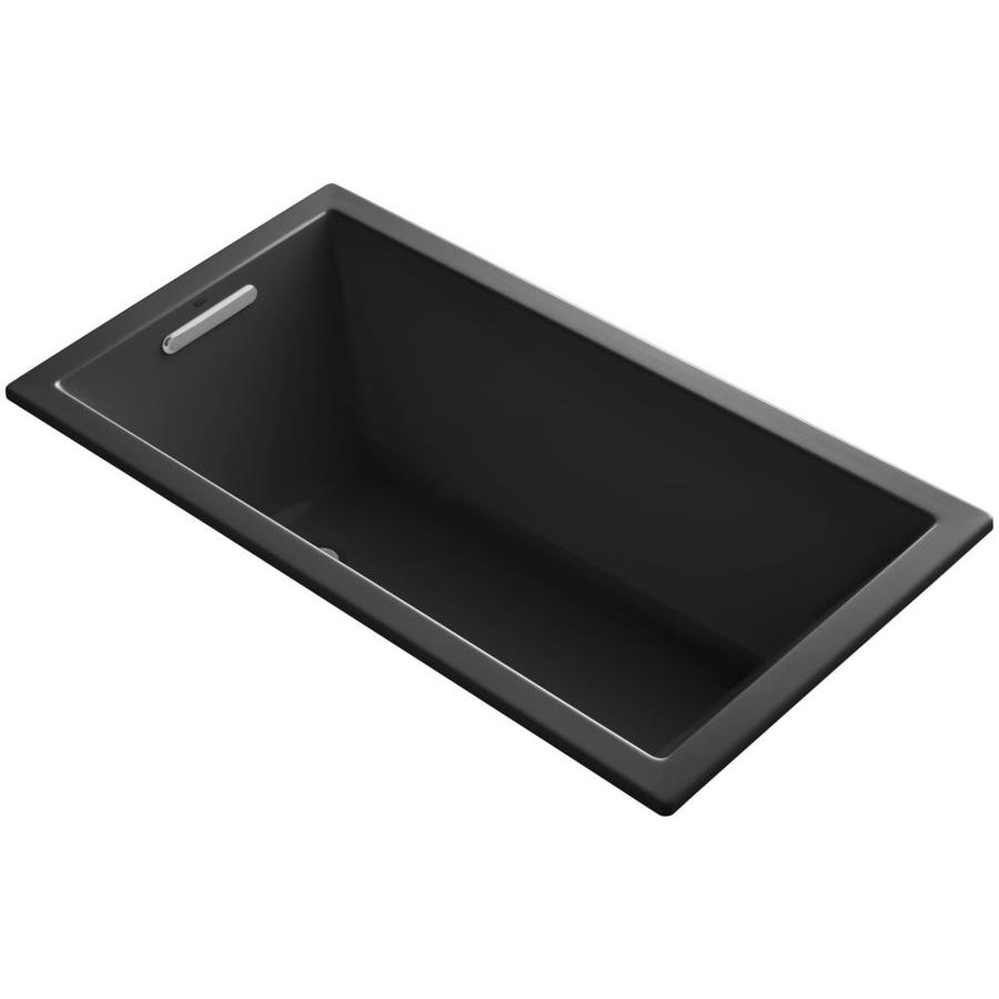 KOHLER Underscore Black Black Acrylic Rectangular Drop-in Bathtub with Reversible Drain (Common: 32-in x 60-in; Actual: 21-in x 32-in x 60-in)
