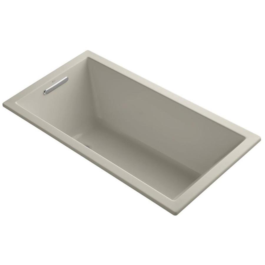 KOHLER Underscore 60-in Sandbar Acrylic Drop-In Bathtub with Reversible Drain