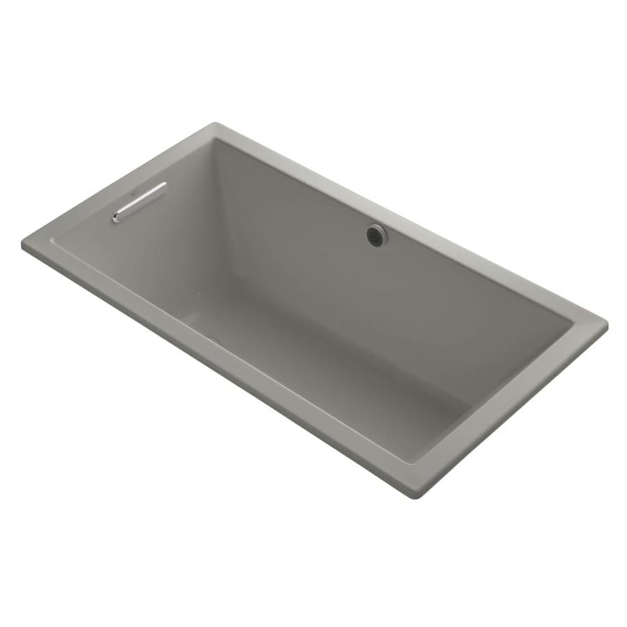 KOHLER Underscore 60-in Cashmere Acrylic Drop-In Air Bath with Front Center Drain