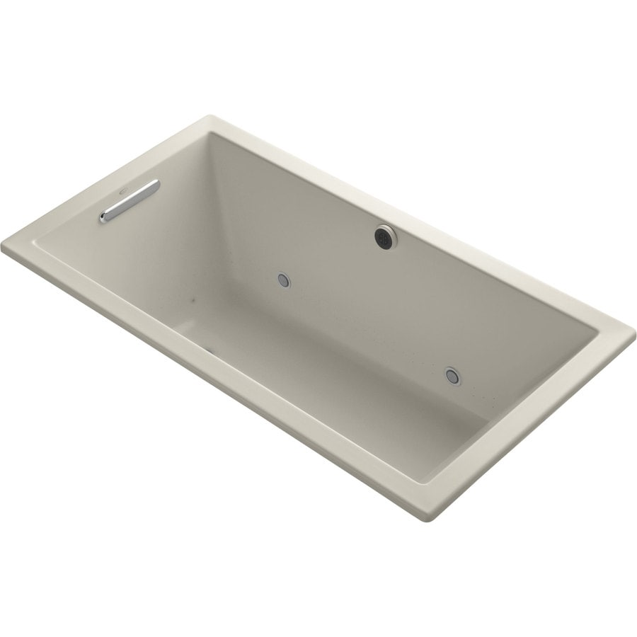 KOHLER Underscore 60-in Sandbar Acrylic Drop-In Air Bath with Reversible Drain