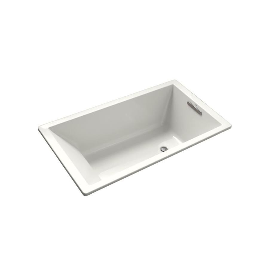 KOHLER Underscore 66-in White Acrylic Drop-In Bathtub with Reversible Drain