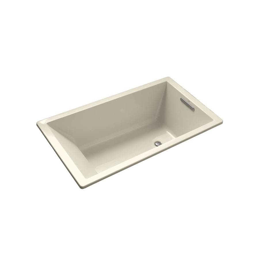 KOHLER Underscore Almond Acrylic Rectangular Drop-in Bathtub with Reversible Drain (Common: 36-in x 66-in; Actual: 22.0000-in x 36.0000-in x 66.0000-in)