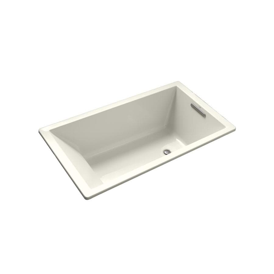 KOHLER Underscore Biscuit Acrylic Rectangular Drop-in Bathtub with Reversible Drain (Common: 36-in x 66-in; Actual: 22.0-in x 36.0-in x 66.0-in)