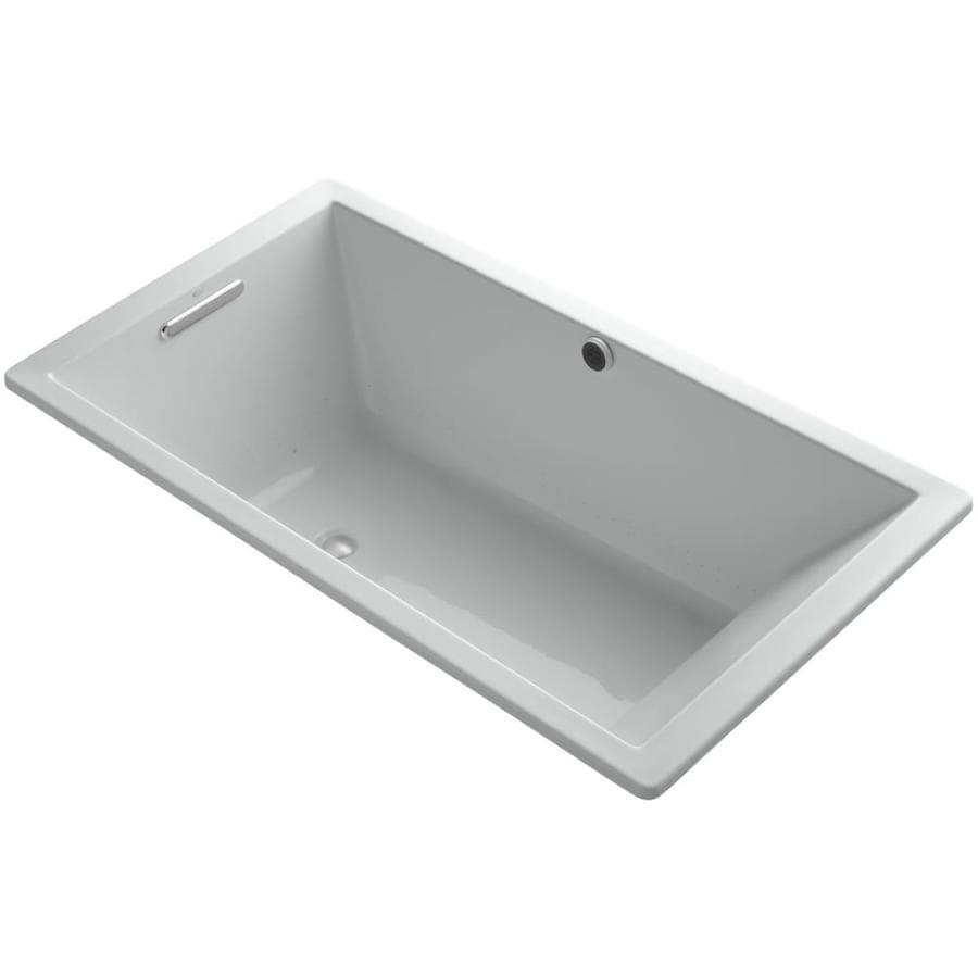 KOHLER Underscore 66-in Ice Gray Acrylic Drop-In Air Bath with Front Center Drain