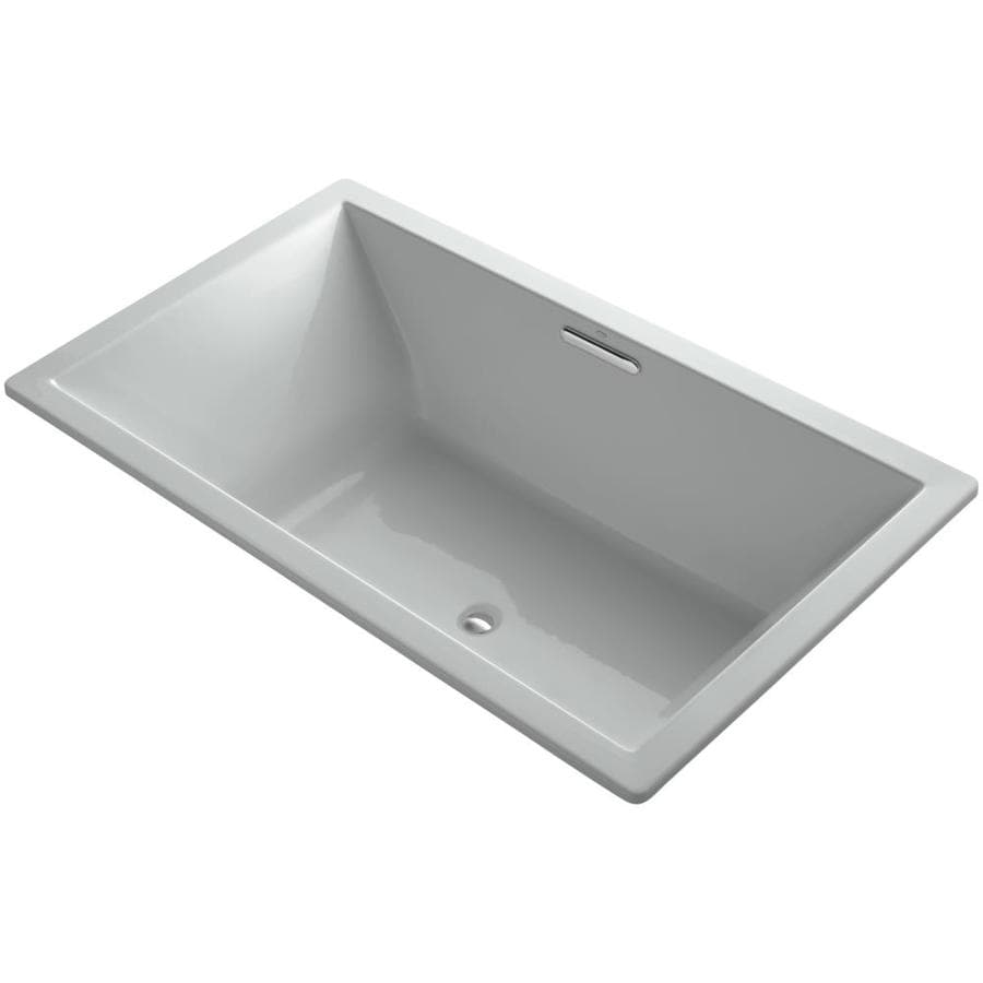 KOHLER Underscore 72-in Ice Grey Acrylic Drop-In Bathtub with Reversible Drain