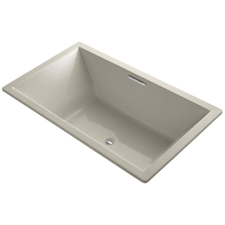 KOHLER Underscore 72-in Sandbar Acrylic Drop-In Bathtub with Center Drain